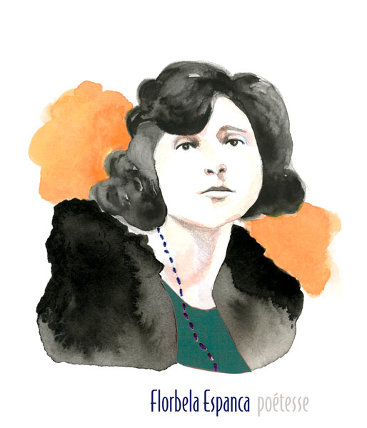 Florbela Espanca portrait illustration