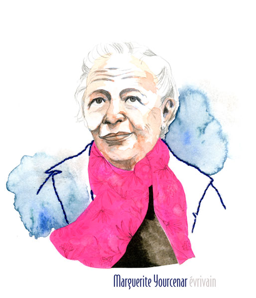 Marguerite Yourcenar portrait illustration