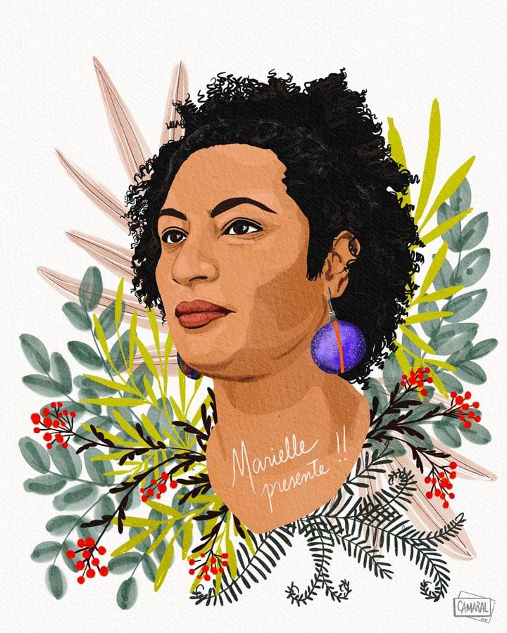 Portrait de Marielle Franco, illustration par Claudia Amaral